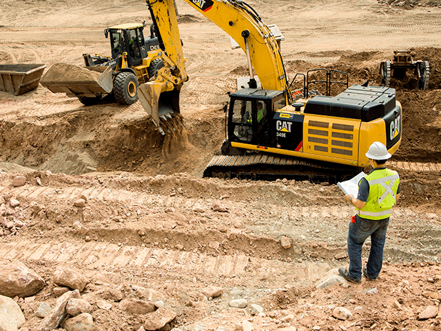 Image of construction site with cat machines